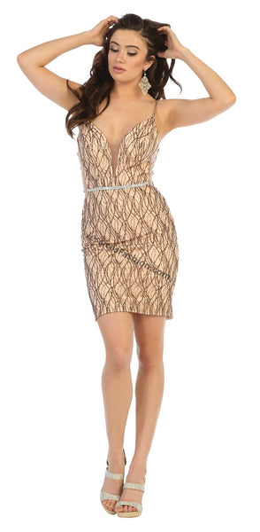 Spaghetti Straps Embroiderer & Rhinestone Short Mesh Dress- LAMQ1676