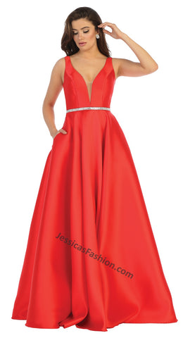 Shoulder Straps Sequins Taffeta Ballgown With Side Pockets- LAMQ1683