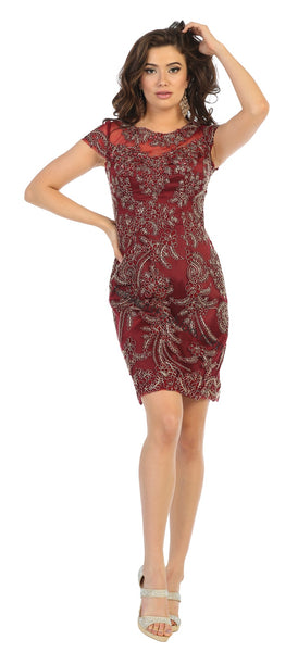 Cap Sleeve Lace Applique & Rhinestone Short Satin Dress- LAMQ1684