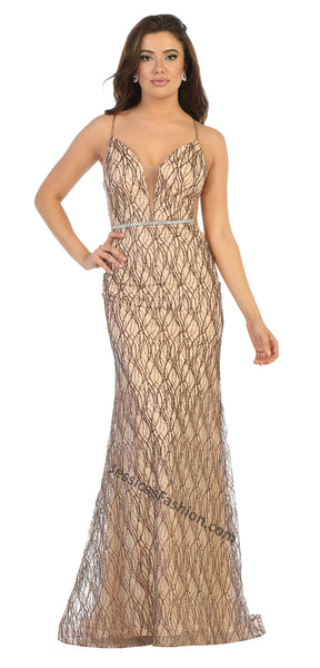 Spaghetti Straps Sequins Long Mesh Dress- LAMQ1689