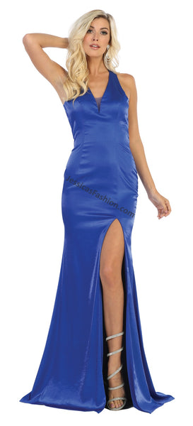 Criss Cross Straps Low Back Satin Dress With High Front Slit- LAMQ1690