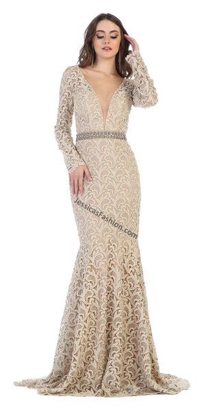 Long Sleeve Full Length Rhinestones Lace Dress- LARQ7671