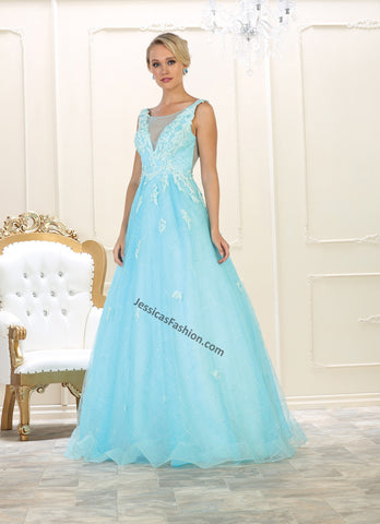 Sleeveless Embroidered Mesh Ballgown- LARQ7513