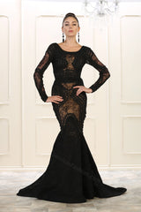 Long Sleeve Embroiderer & Rhinestones Mesh Mermaid Dress- LARQ7515