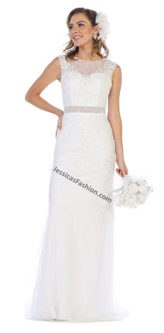 Sleeveless Embroiderer & Sequins Mesh Wedding Gown- LARQ7524B