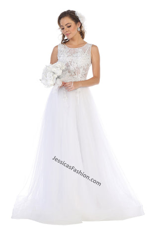 Sleeveless Embroiderer & Pearls Mesh Wedding Gown- LARQ7527B