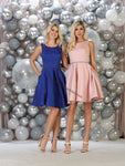 Sleeveless Sequins Short Jacquard Dress With Side Pockets- LARQ7605