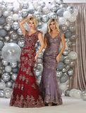Cap Sleeve Embroidere & Sequins Mesh Mermaid Dress- LARQ7629