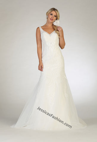 Sleeveless Embroiderer & Sequins Mesh Bridal Dress- LARQ7643