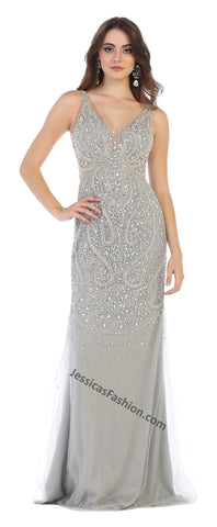 Sleeveless Rhinestone Long Mesh Dress- LARQ7650
