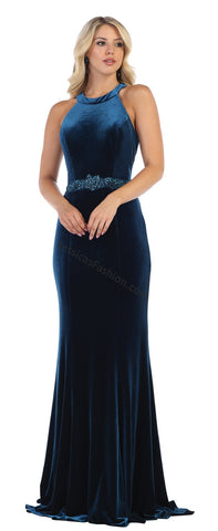 Halter Rhinestone Long Velvet Dress- LARQ7652