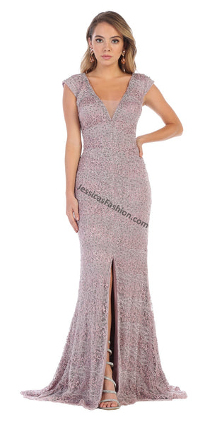 Cap Sleeve Rhinestone & Pearl Lace Dress With Front Slit- LARQ7654