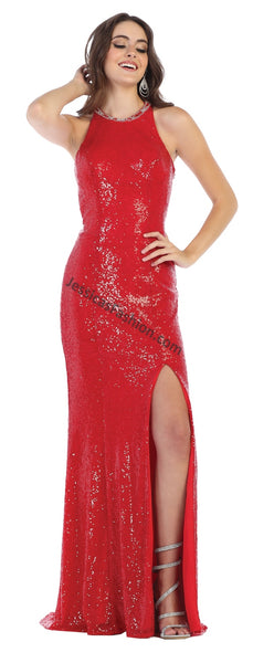 High Neck Sequins Long Dress With Front Slit- LARQ7656