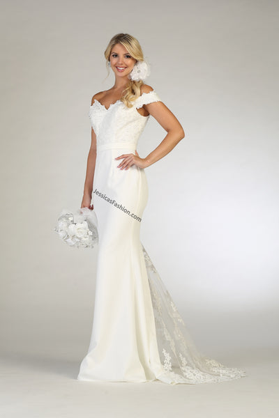 Off Shoulders Lace Appliques Long Satin Bridal Dress- LARQ7659
