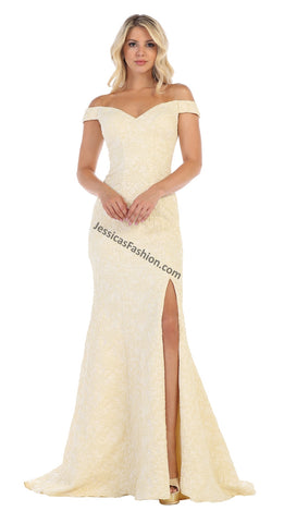 Off Shoulders Full Length Kerpan Dress With Front Slit- LARQ7663