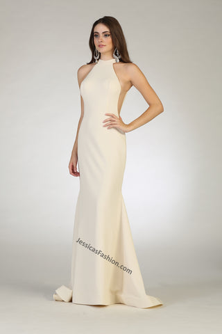 Halter Full Length Polyester Chiffon Dress- LARQ7664