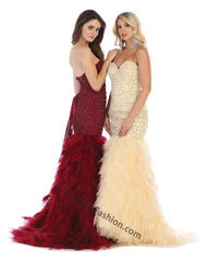 Strapless Sequins Full Length Mesh Mermaid dress- LARQ7668