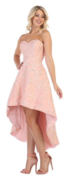 Strapless Embroiderer Satin High Low Satin Dress - RQ7672