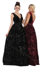 Cap Sleeve Sequins Long Velvet Dress With Side Pockets- LARQ7674