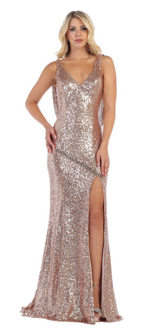 Criss Cross Full Length Low Back Sequins Dress- LARQ7676