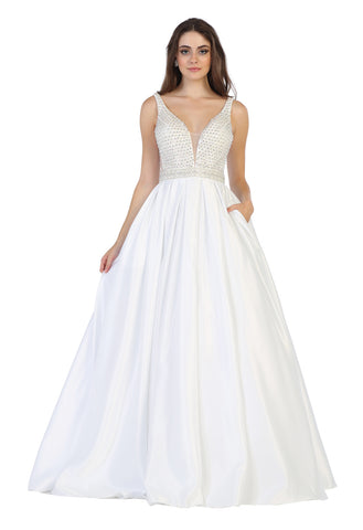 Shoulder Straps Rhinestones Taffeta Ballgown With Side Pockets- LARQ7680