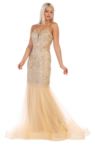 Strapless Embroiderer & Rhinestone Long Mesh Dress- LARQ7682
