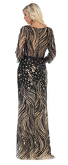 Quater Sleeve Embroiderer & Sequins Long Mesh Dress- LARQ7686