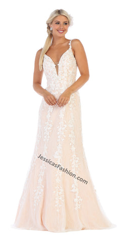 Shoulder Straps Embroiderer & Rhinestone Long Mesh Dress- LARQ7697