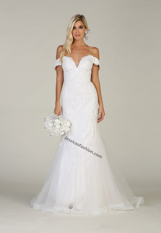 Off Shoulders Embroiderer & Sequins Mesh Mermaid Bridal Dress- LARQ7705B