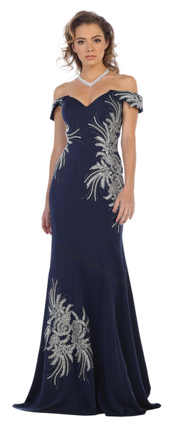 Off Shoulder Straps Embroiderer Full Length Ity Dress- LARQ7712