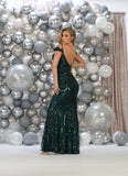 Off Shoulders Embroideries & Sequins Long Mesh Dress- LARQ7718