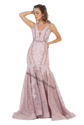 Sleeveless Embroiderer & Pearls Long Lace Dress- LARQ7735