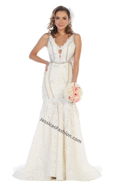 Sleeveless Embroiderer & Pearls Long Lace Bridal Dress- LARQ7735B