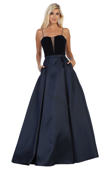 Spaghetti Straps Long Satin Dress With Side Pockets- LARQ7742