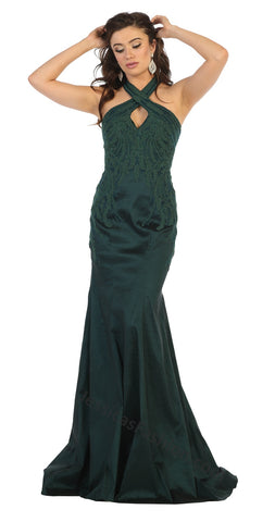 Halter Embroiderer & Rhinestone Long Taffeta Dress- LARQ7743