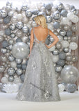 Sleeveless Embroiderer & Sequins Long Ballgown- LARQ7745