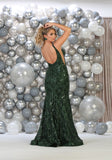 Shoulder Straps Long Sequins Knit Dress- LARQ7746