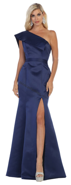 One Shoulder Straps Satin Dress With High Front Slit
