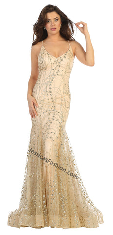Criss Cross Straps Rhinestone Long Mesh Dress- LARQ7763