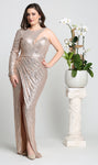 Sexy One Long Sleeve Evening Gown - CHAMPAGNE / 4