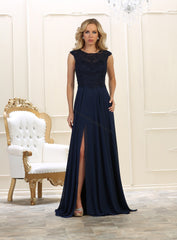 Cap Sleeve Embroidere Rhinestones Chiffon Dress With Front Slit- LAMQ1563