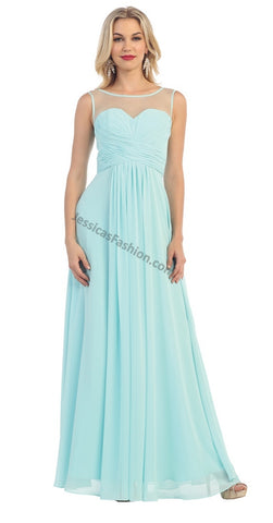 Sleeveless Chiffon Pleated Chiffon PLUS Size Dress- LAMQ1266