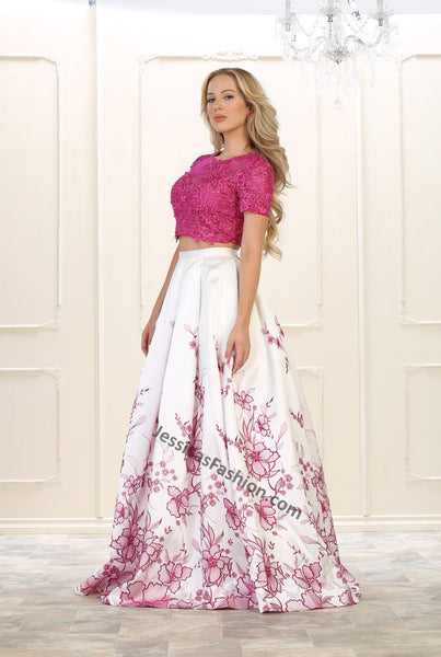 Short sleeve beaded top with long floral satin skirt- LARQ7535