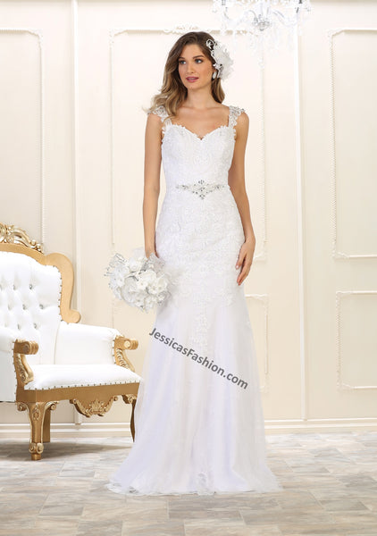Sleeveless embroiderer & rhinestone long mesh wedding gown- LARQ7573