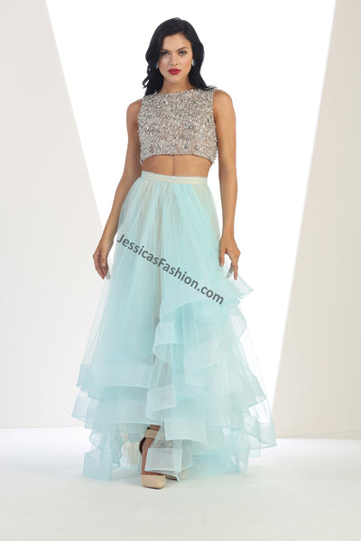 Sleeveless sequins top with long mesh skirt- LARQ7398