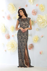 Cap Sleeve Lace Dress With Front Slit- LAMQ1453