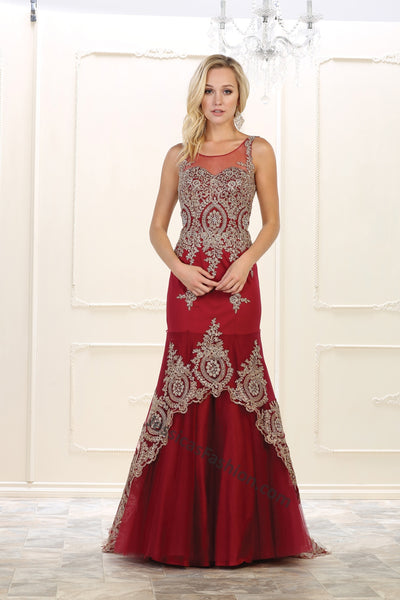 Sleeveless Metallic Lace Applique Long Mesh Dress- LARQ7546