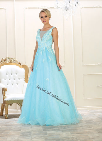 Sleeveless embroidere mesh ballgown- LARQ7513