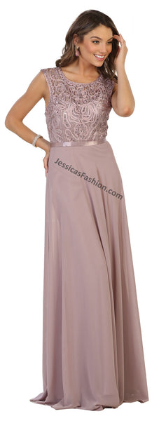 Sleeveless Embroiderer & Rhinestone Chiffon Dress- MQ1519