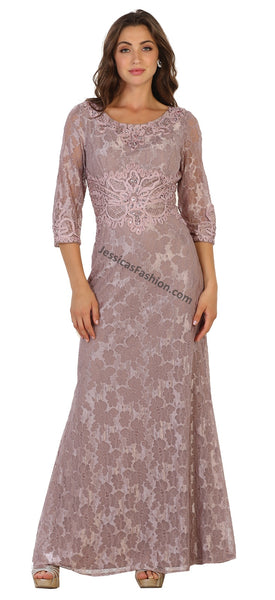 Quarter Sleeve Lace & Rhinestones Mother Of Bride Dress- MQ1516